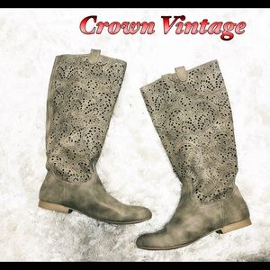 Crown Vintage Taupe Laser Cut Tall Boots 8